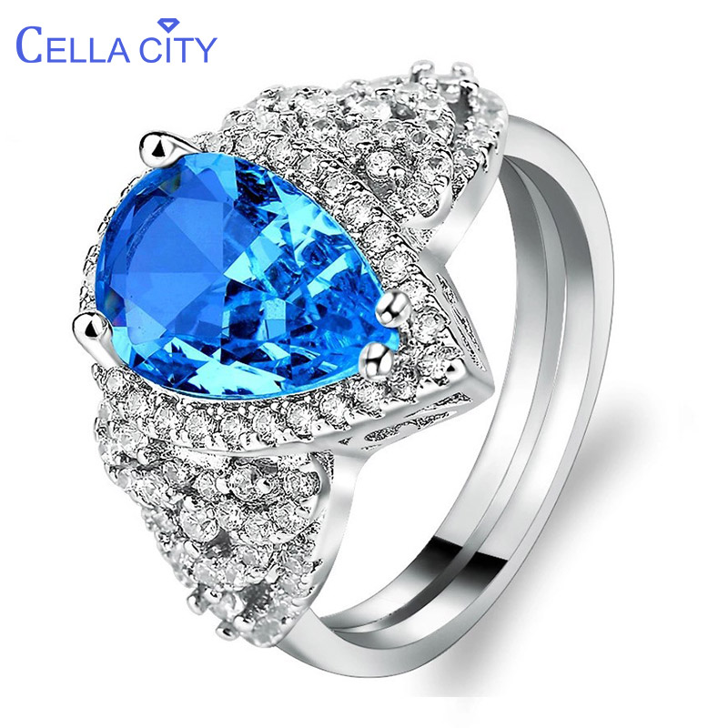 Cellacity Geometry Luxury Silver 925 Jewelry Aquamarine Ring For Women Water Drop Shaped Gemstones Size6,7,8,9,10 Engagement