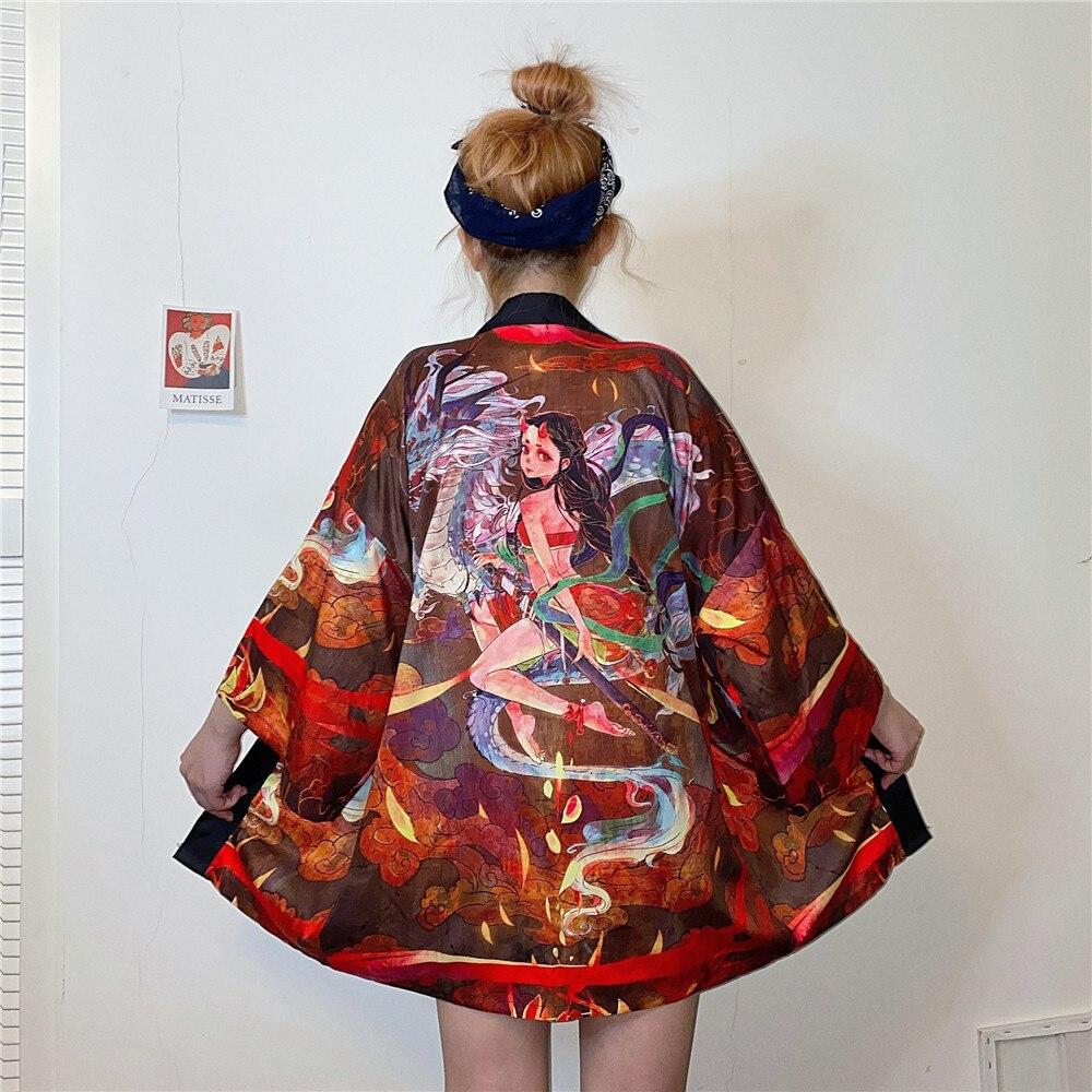 Tops y blusas para mujer 2020 harajuku kawaii camisa ropa informal japonesa traje kimono cardigan mujer yukata blusa Mujer