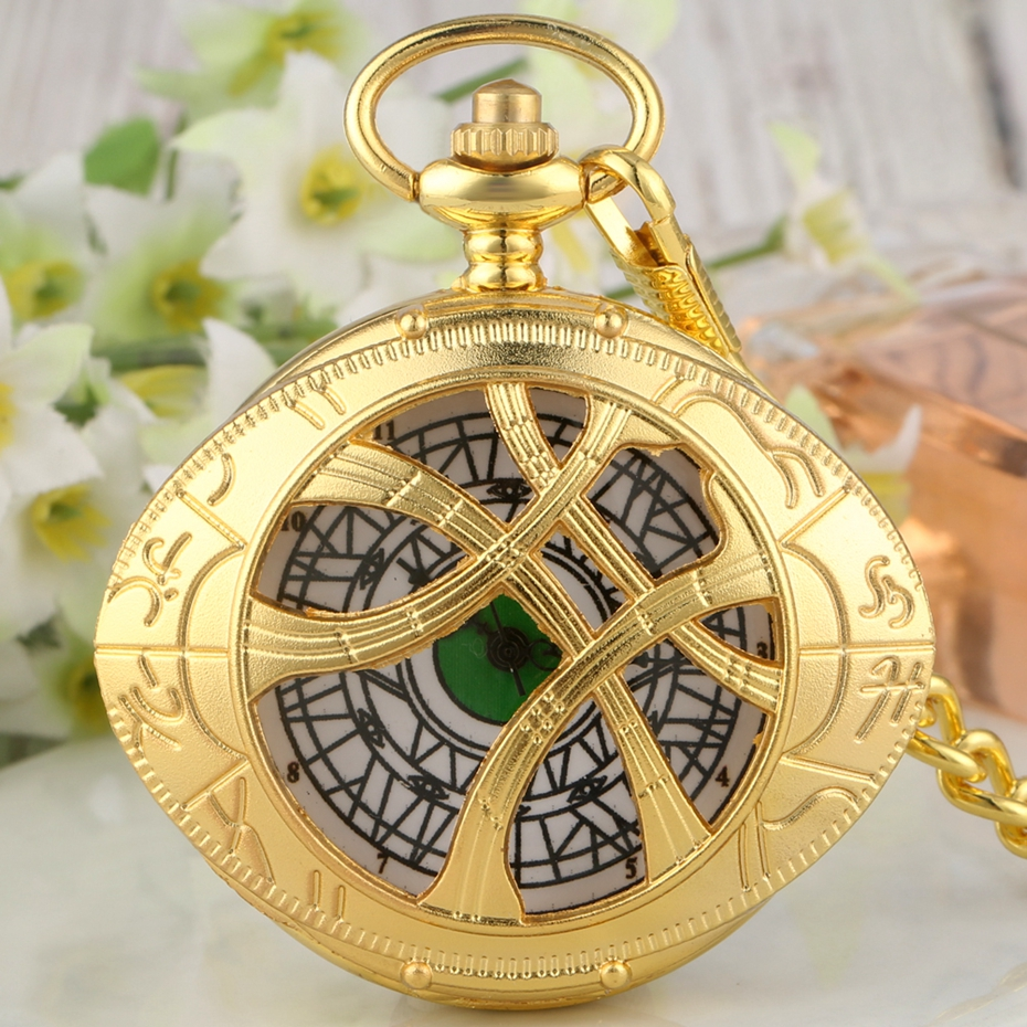 Top Luxury Gold Strange Dr. Agomo's Eye Quartz Pocket Watch Doctor Who Necklace Chain Fashion  Pendant Clock Gifts For Men Women