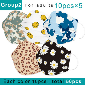 50Pcs/lot Fashion Breathable Disposable Mouth Masks With Earloop Non-woven 3-Ply Fashion Face Mask Personalized Printed Mask
