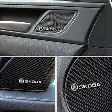 4 pçs 3d alto-falante estéreo de alumínio emblema emblema adesivo para skoda octavia a5 a7 rs fabia superb acessórios do carro-estilo
