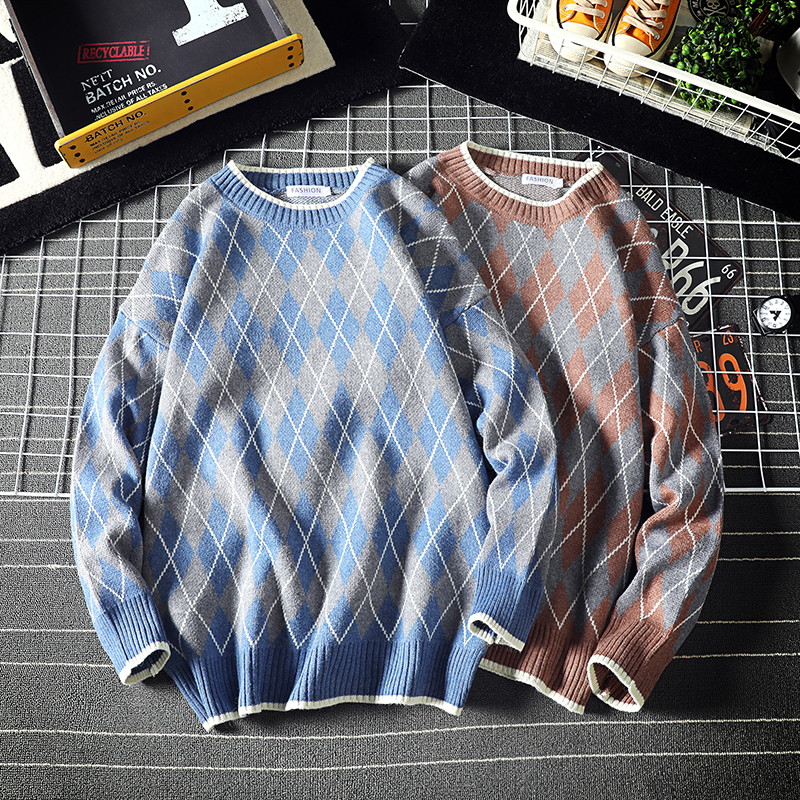 Winter Sweater Men Warm Fashion Contrast Color Plaid Casual Knit Sweaters Man Streetwear Loose Long-sleeved Pullover Men M-5XL