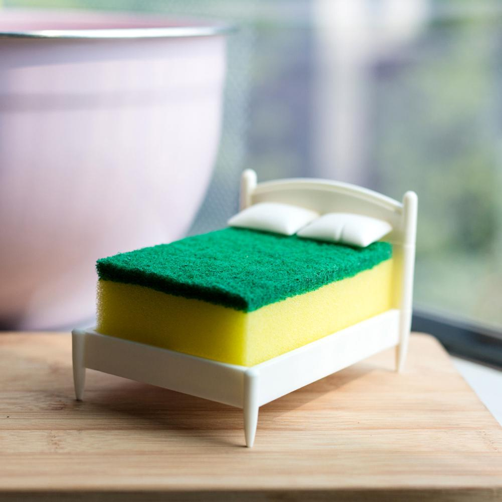 HiMISS Creative Hot Bed Shape Scouring Pad Sponge Holder Storage Rack For Kitchen Toilet Bathroom Kitchen Accessories