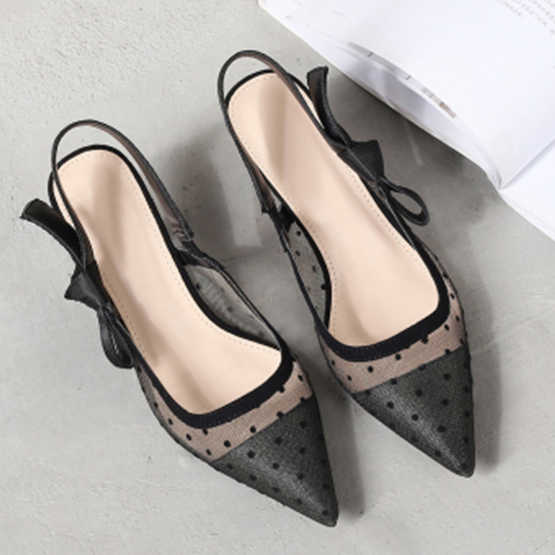WEIQIAONA  Fashion Sexy Pointed Ladies Hollow High Heels  Party Shoes Women Shoes Mesh Embroidery Ankle Straps Pumps