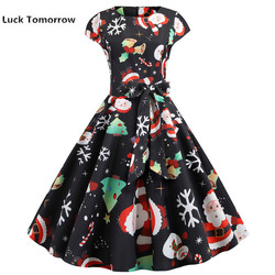 O-Neck Big Swing Vintage Christmas Dress Women Summer 50s 60s Elegant Party Dresses Casual Short Sleeve Floral Plus Size Dress 4