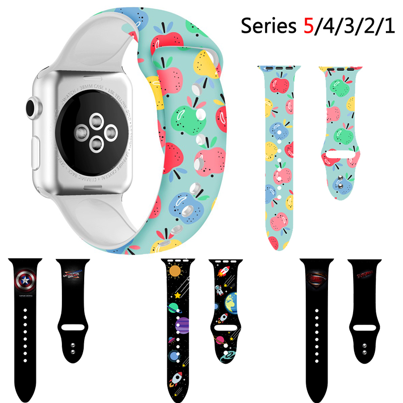 Strap For Apple Watch Band Apple Watch 5 4 44mm 40mm Soft Silicone Floral Printed Wrist Belt IWatch 5 4 3 38mm 42mm Watchband