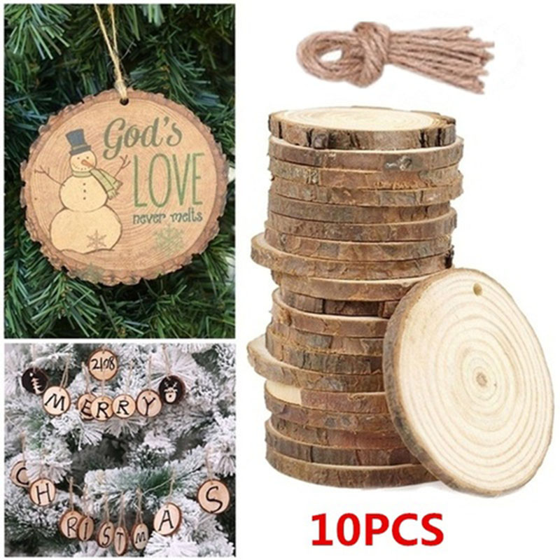 10pc Blank Wood DIY Crafts Christmas Xmas Discs Circle Wood Disks Crafts Christmas Tree Home Decoration Wedding Deco Kscraft