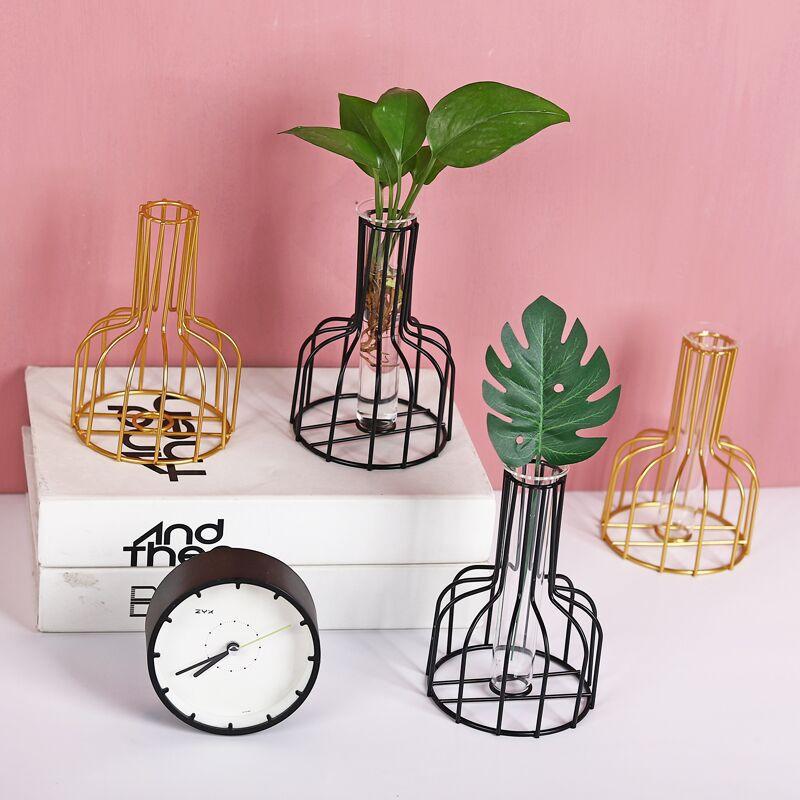W & g retro linha de ferro vaso hidropônico planta vaso flor metal titular da planta estilos nórdicos mesa decoração para casa moderna