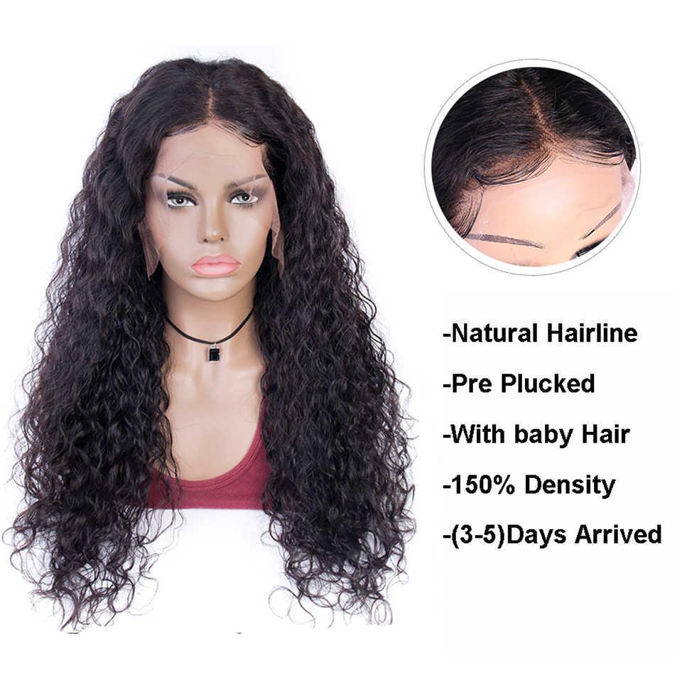 Su dalgası peruk 13x4 dantel ön İnsan saçı peruk Maxine Remy islak ve dalgalı peruk tutkalsız peruk siyah kadınlar için 150 yoğunluk orta oranı