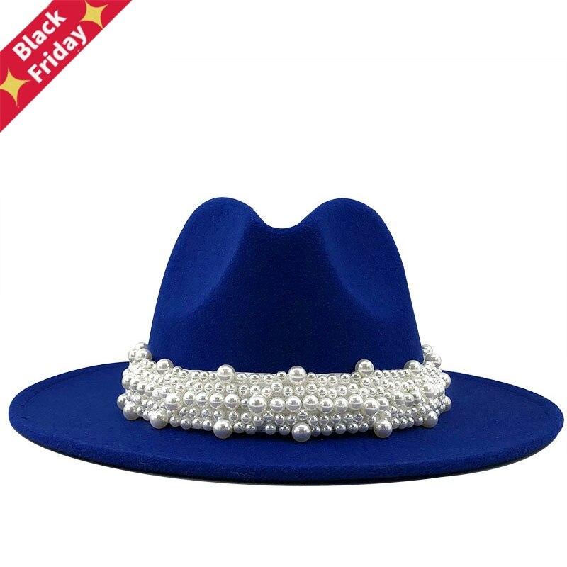 Women Men Wool Fedora Hat With Pearl Ribbon Gentleman Elegant Lady Winter Autumn Wide Brim Church Panama Sombrero Jazz Cap 60cm