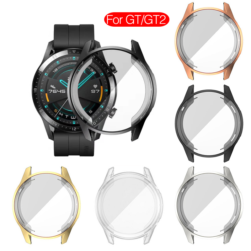 Silicone Case For Huawei Watch GT GT2 46mm Screen Protector Plating Soft Cover Case For Huawei GT 2 Band SmartWatch Fundas Couqe