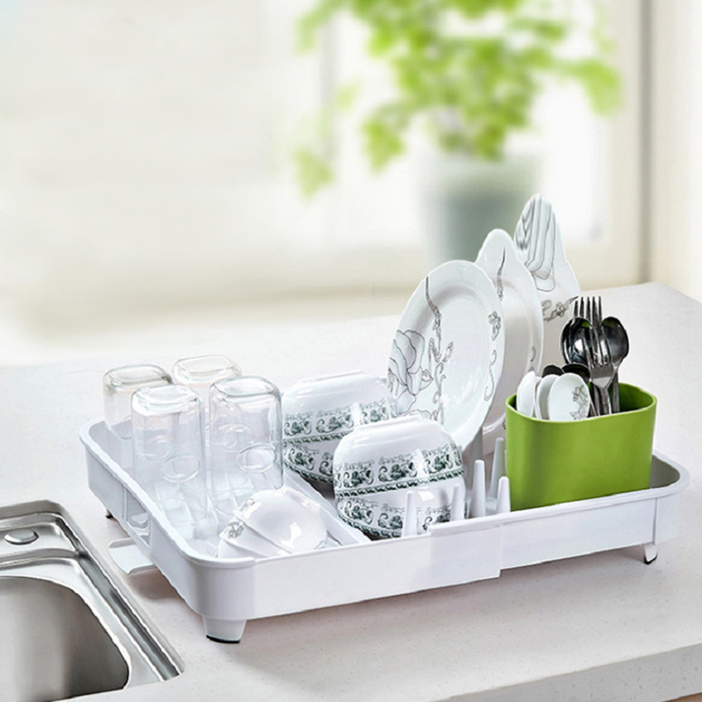 Adjustable Kitchen Drain Rack Dish Rack Cutlery Storage Holder Tableware Bowl Plate Drying Placement Multifunctional Shelf D#