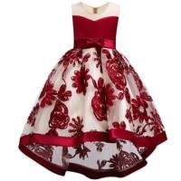 Kids Girl Flower Trailing Bridal Gowns Fashion Girl Tutu Long Dress Girls Clothes Princess Wine Red Blue Wedding Party Princess