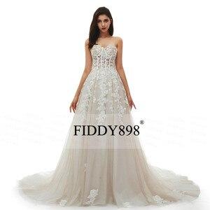 Image 5 - Boho robe de mariée longue sans bretelles Tulle a ligne cristal perles perlées dentelle robe de mariée plage robe de mariée Vestido de Novia 2020