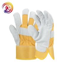 Cheap Split leather Working Glove Rubber Cuff Safety Wears Work Glove 2 Pairs/lot недорого