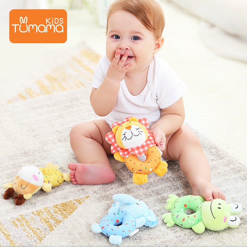 TUMAMA 4 PCS Baby Toys Soft Cute Stuffed Animal Rattles For Baby And Infant Developmental Hand Grip Toy Zabawki Dla Niemowlaka