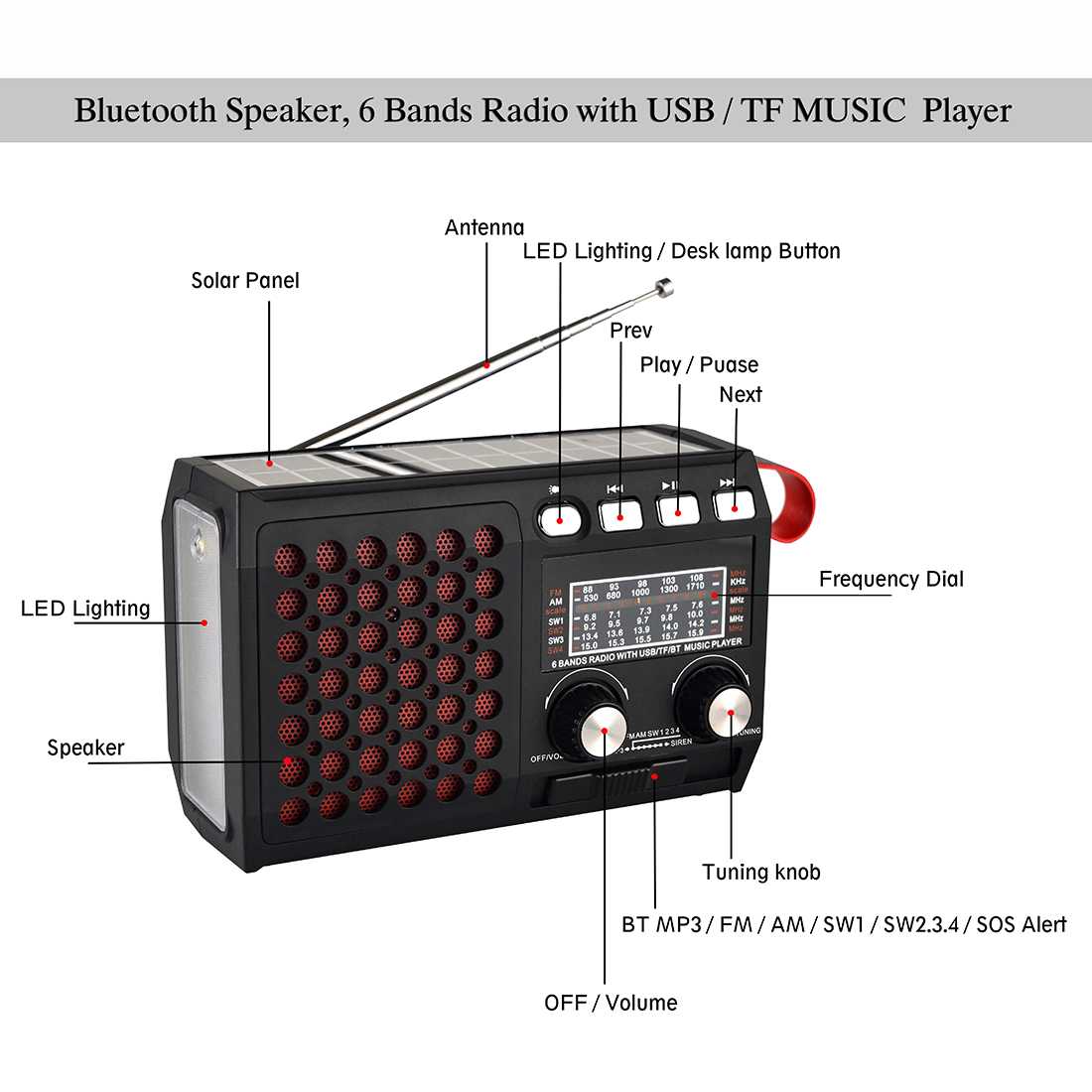 Draagbare Emergency Radio Am/Fm/SW1 ~ 4 Met Bluetooth Speaker Solar Hand Crank Tf Card Usb Disk MP3 Speler 4-In-1 Batterij Operated 6
