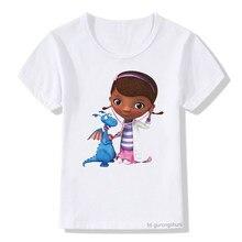 Crianças bonito camiseta menina doc mcstuffins clínica menina dos desenhos animados imprimir verão topos do bebê t camisa nova moda da criança roupas casuais dos miúdos