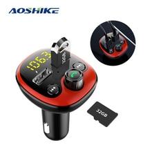 цена на AOSHIKE 5V 3.1A USB Charger Bluetooth Car Kit FM Transmitter Modulator Audio Music Mp3 Player Phone Wireless Car kit Handsfree