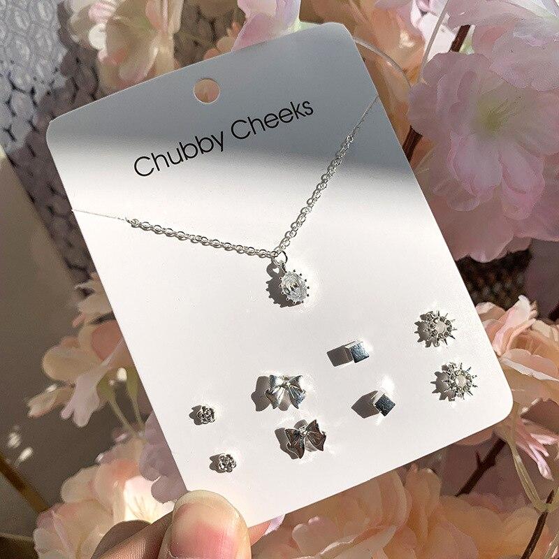 Модные корейские серьги-гвоздики, имитация жемчуга, пентаграмма, олень, рыбий хвост, крест, снежинка, сердце, серьги, колье, женские подарки, ювелирные изделия - Окраска металла: ED007307
