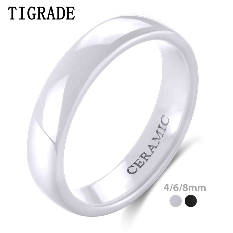 Tigrade 2mm 4mm 6mm White Ceramic Ring Black Wedding Engagement Men Women Rings Fashion Classic Special Design Anillos Jewelry