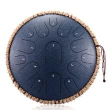 Tambor Metálico de Lengüetas Acero Tambor de la Lengua Tongue Drum nstrumentos 13 Pulgadas con 15 teclas de notas y mazo Llevar Bolsas y Pegatina de notas