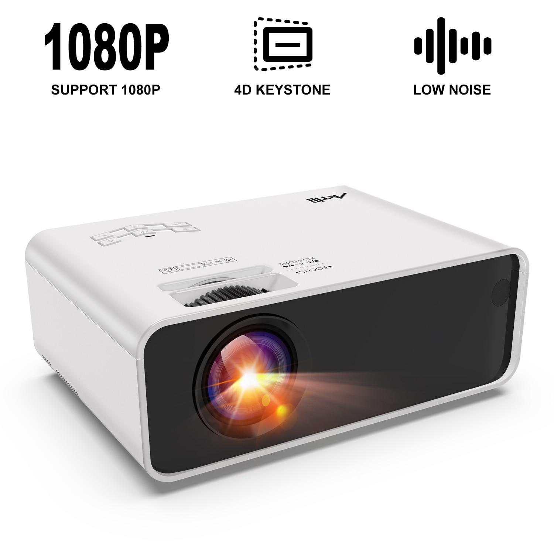 Artlii ciesz się przenośny projektor filmowy z zoomem, obsługuje projekcję boczną HD 1080 p, ulepszony Beamer dla domowa rozrywka