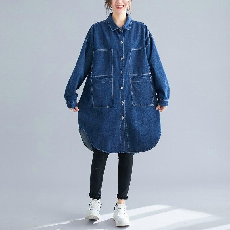 TVVOVVIN Korean Style Denim   Trench   Coat For Women Autumn New 2019 Loose Pluz Size Wild Denim Windbreaker Female F169