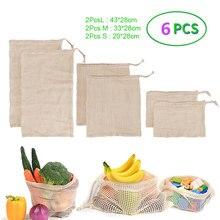 Sac à légumes réutilisable, 6 pièces, sac à mailles lavables en coton, sacs de produits ménagers, sac de rangement de fruits et légumes de cuisine