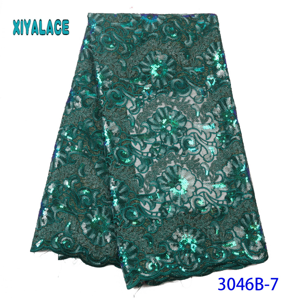 African Lace Fabric 2019 High Quality Lace With Sequins Latest French Lace Fabric Bridal Lace For Nigerian Party Dress YA3046B-7