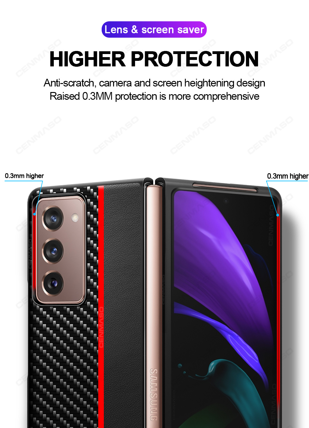 Original Carbon Fiber Texture Leather Back Cover Shockproof Phone Case for Samsung Galaxy Z Fold 2 5