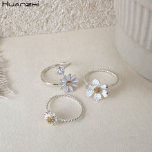 Hz 2020 nova coréia simples prata do vintage cor chapeado margarida flor strass metal abertura anéis para meninas doce jóias