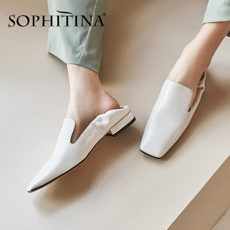 SOPHITINA Fashion Office Flats Women' s High Quality Genuine Leather Comfortable Square Toe New Shoes Slip-On Loafer Flats PO536