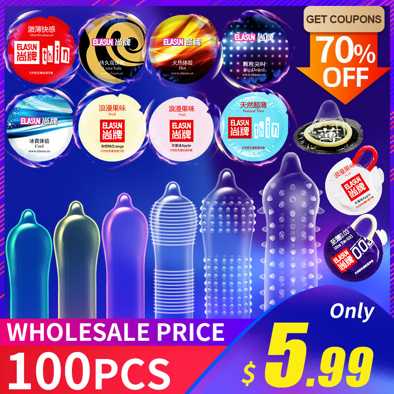 Elasun Condoms 100 Pcs/lot Plus Size Penis Different Varieties Large Spikes Fire Ice Condom Full Oil Smooth Lubricated Condom