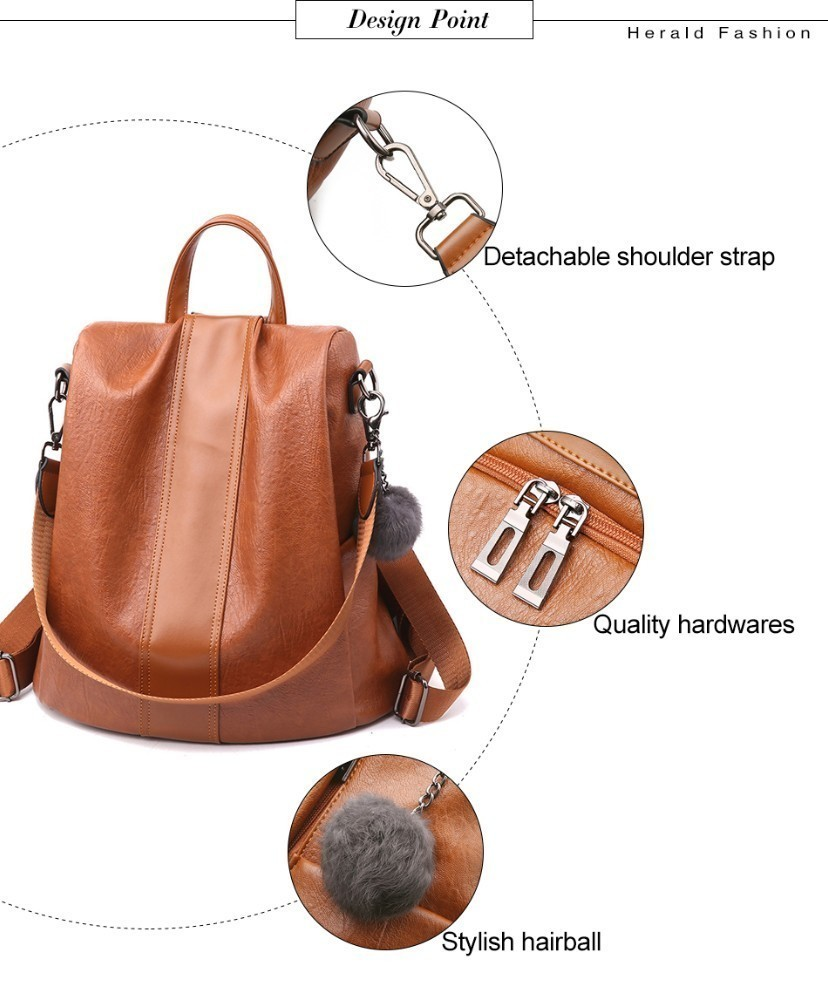 Hd8da6f48f7534aee8780af89e77a0f1de HERALD FASHION Quality Leather Anti-thief Women Backpack Large Capacity Hair Ball School Bag for Teenager girls Male Travel Bags