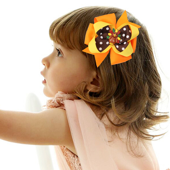 3.5In Grosgrain Ribbon Hair Bows with Clips Girl's hair bows Boutique Hair Clip Headware Hair Accessories For Thanksgiving day 5 inch handmade hair bows with feather for thanksgiving day hair exquisite accessory ribbon hair clip