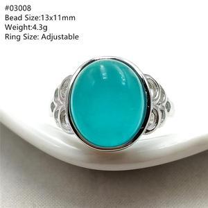 Image 2 - خاتم من الفضة الإسترليني 925 بحجر الأمازونيتي الجليدي الطبيعي الأخضر قابل للتعديل خاتم حريمي ورجالي بحبات كبيرة AAAAA