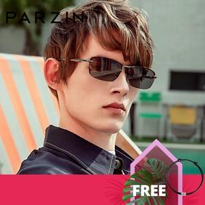 Image 1 - PARZIN חדש גברים של Photochromic מקוטב משקפי שמש באיכות גבוהה מתכת מחצית מסגרת אופנה נגד בוהק משקפיים נהיגה משקפי שמש