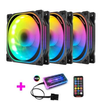 Coolmoon PC Case Cooler Fan 120mm Fan Rgb Fan Quiet IR Remote Control Cooler Interface Cooler Cooling Computer Fan