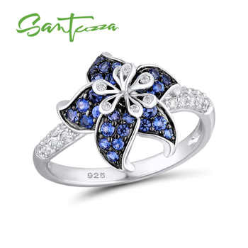 SANTUZZA Silver Flower Ring For Women 925 Sterling Silver Blooming Flower Blue White Cubic Zirconia кольца anillos Party Jewelry - DISCOUNT ITEM  49% OFF All Category