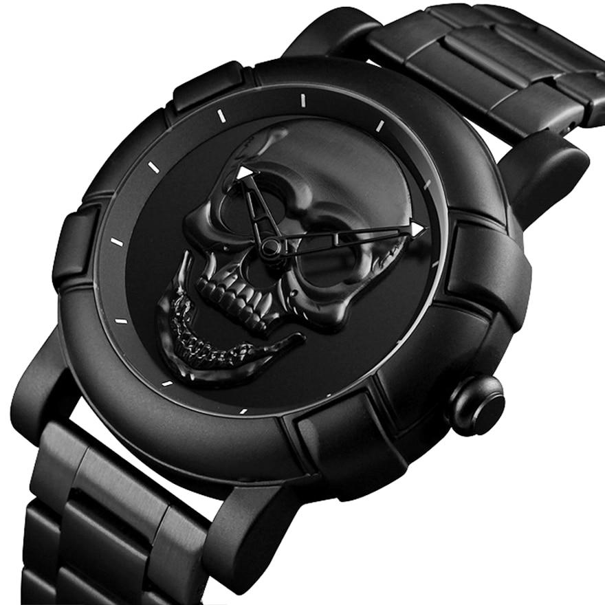 Full Black Men Watch Laser Engraved Skull Head Watches Punk Skeleton Wristwatch For Men Men's Luxury Male Quartz Wrist Watches