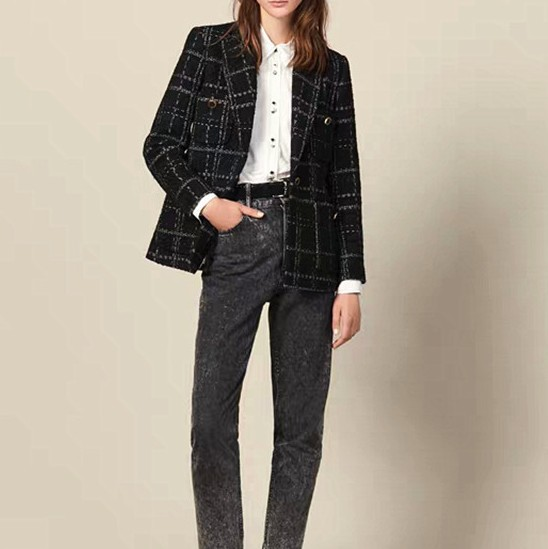 2019 Fall And Winter Double Breasted Office Lady Career Plaid Woolen Blazer Coat