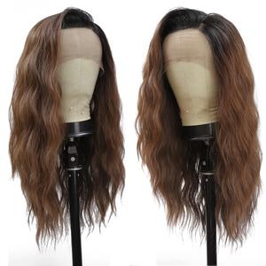 Image 2 - סינטטי תחרה מול פאות Ombre חום שחור צבע טבעי גל ארוך משלוח חלק שיער פאה לנשים שחורות חום עמיד x TRESS