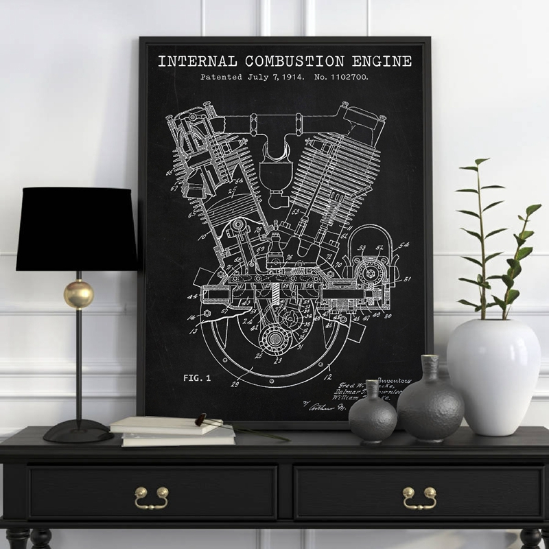 Spacke De Motor Blueprints Print Sears Dreadnought Twin Poster Motorcycle Engine 1914 Patent Canvas Painting Garage Wall Decor