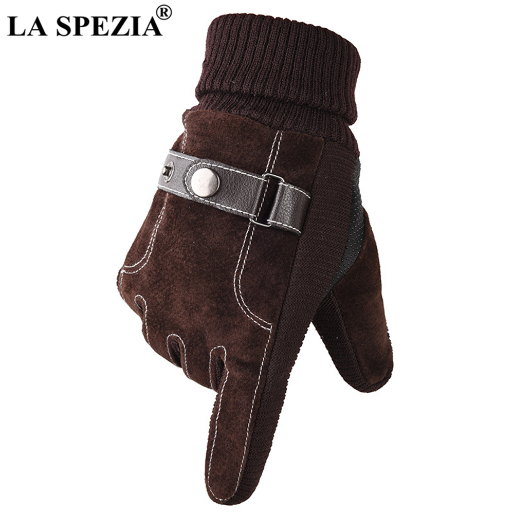 LA SPEZIA Winter Gloves Men Pigskin Leather Gloves Warm Thick Touch Screen Male Real Leather Driving Gloves