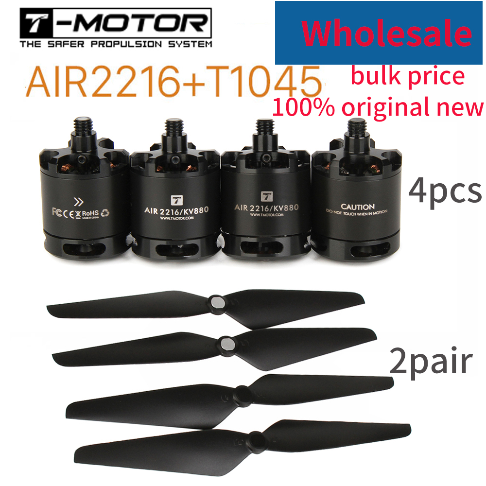Wholesale T-motor Air Gear 450 4PCS 2216 AIR2216 KV880 Motor 2Pair T1045 1045 Props Propeller For RC Beginner Edu Drone Show