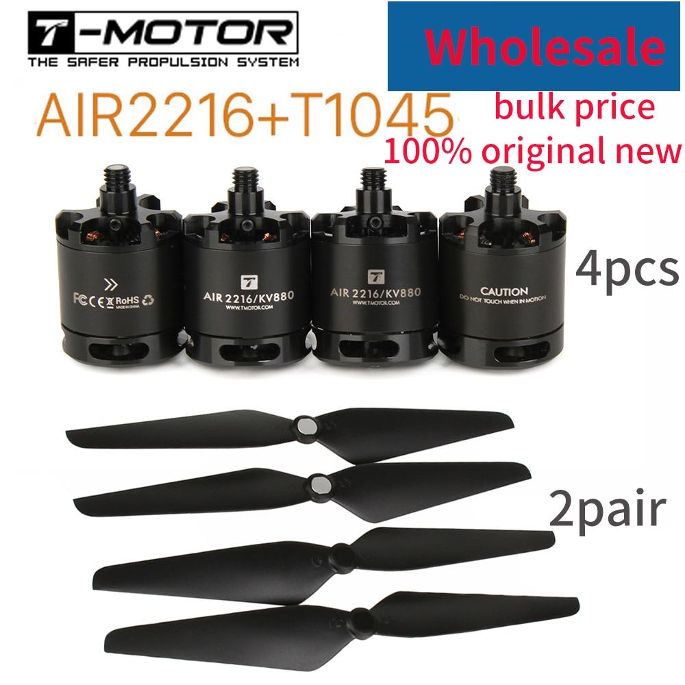 Wholesale T-motor Air Gear 450 4PCS 2216 AIR2216 KV880 Motor 2Pair T1045 1045 Props Propeller For RC Beginner Edu Drone Show