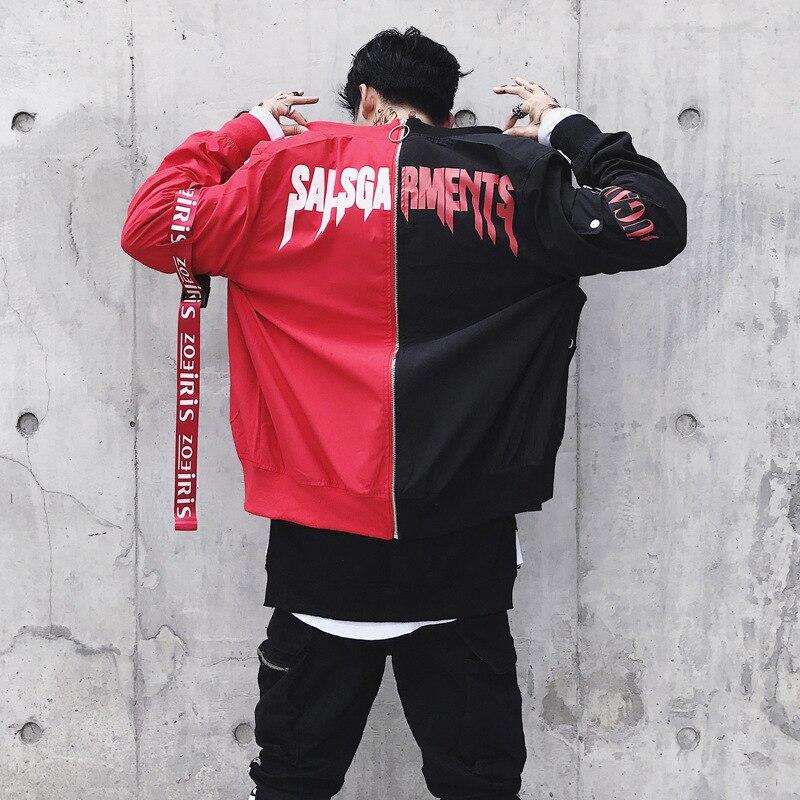 Black Red Split Ribbon Letter Print Men Bomber Jacket Hip Hop Streetwear Zipper Punk