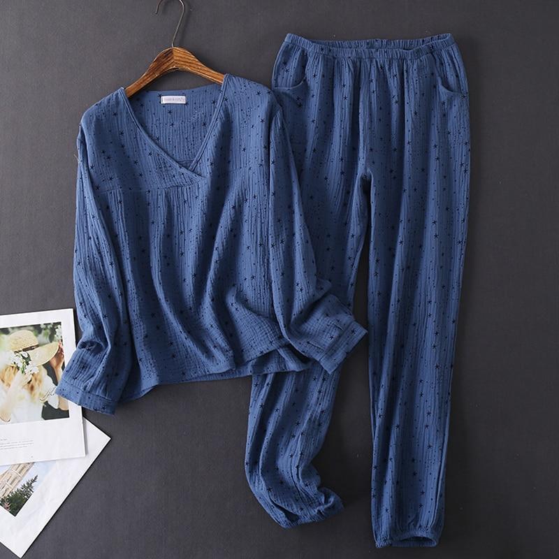 Women's Cotton Water-washed Pajamas For Women Pyjamas Sleepwear Pijamas Texture Crepe Gauze Long-sleeved Trousers Pajamas V-Neck