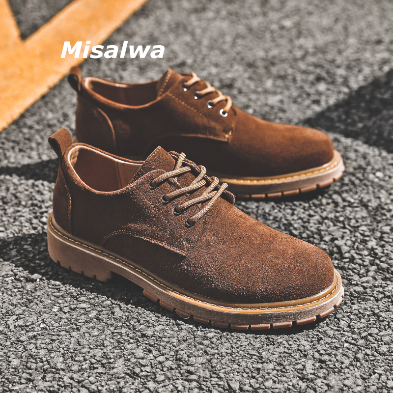Misalwa Authentic Leather Suede Men Short Boots Luxurious Outdoor Work Men Boots Sand Winter Autumn Quality Casual Male Footwear